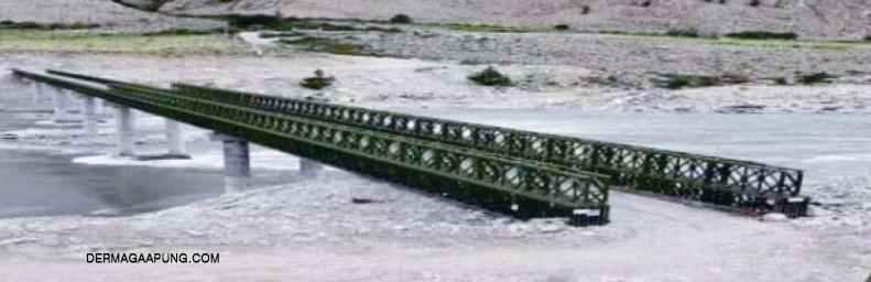bailey bridge in pang duo couuntryside tibet